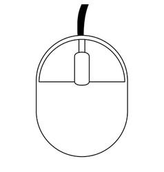 Black line computer mouse vector