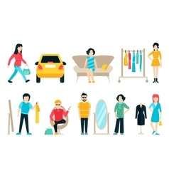 Shopping and shipping flat icons set mall vector