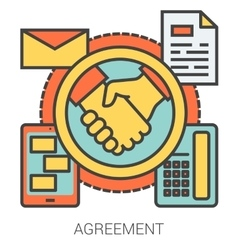Agreement line icons vector