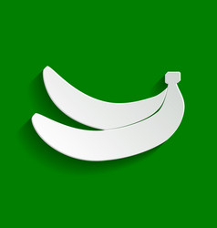 Banana simple sign paper whitish icon vector