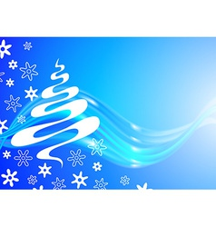 Christmas card with tree and snowflakes sketch vector image vector image