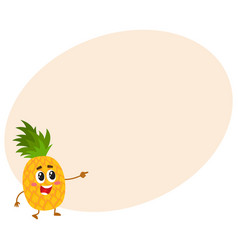 cute and funny pineapple character mascot vector image vector image