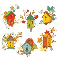 Decorative autumn branches with birdhouses vector