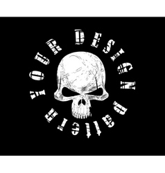 Design for t-shirt print with skull and textures vector