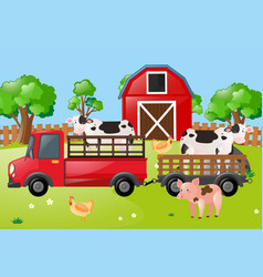 farm scene with cows on the truck vector image