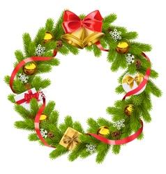 Fir wreath with golden bells vector