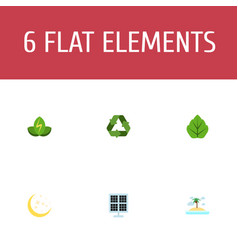Flat icons foliage eco energy isle beach and vector