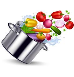 Fresh vegetable in metal pan vector