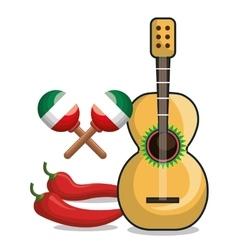 guitar maraca and chili mexican symbol graphic vector image