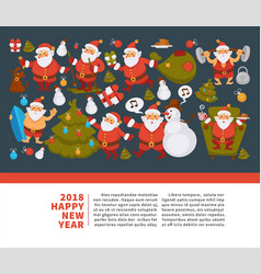 happy new year 2018 poster with santa clauses in vector image vector image