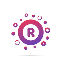 letter r with group of circles abstract logo icon vector image vector image
