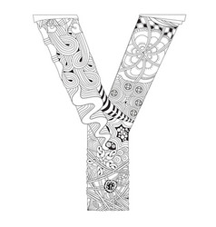 letter y for coloring decorative zentangle vector image vector image