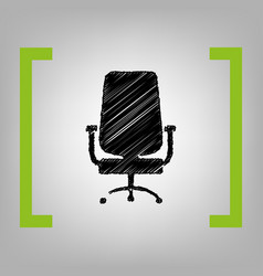 Office chair sign black scribble icon in vector