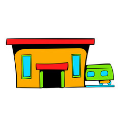 Railway station icon icon cartoon vector