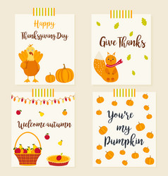 set of autumn cards with characters and elements vector image vector image