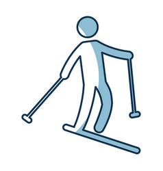 Silhouette of athlete practicing ski vector