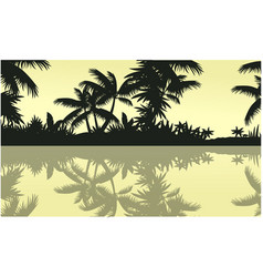 Silhouette of tree palm on jungle scenery vector