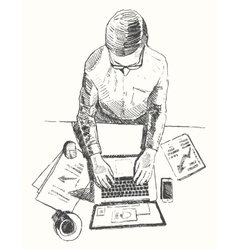 Sketch hands computer man office top view drawn vector