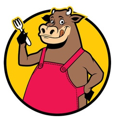 smiling cow wearing apron vector image vector image