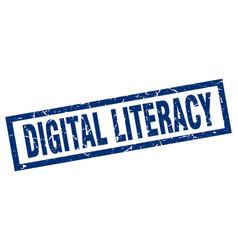 Square grunge blue digital literacy stamp vector