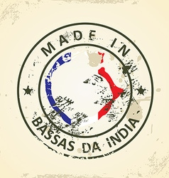 Stamp with map flag of bassas da india vector