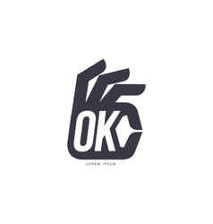 Stylized simplified hand showing ok sign logo vector