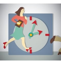 Time management business woman run vector image vector image