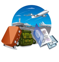 travel by the airplane vector image vector image