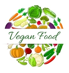 Vegan food decoration round emblem vector