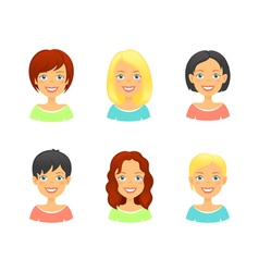 Woman hair styles of different types and colors vector image vector image
