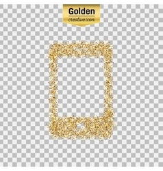 Gold glitter icon of smart phone isolated vector