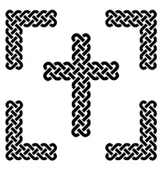 Simple celtic style endless knot cross in black vector
