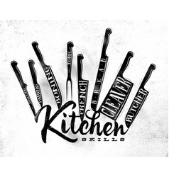 Meat cutting knifes poster chalk vector