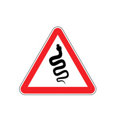 Snake warning sign red venomous serpent hazard vector