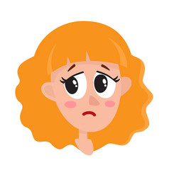 Pretty blonde hair woman crying facial expression vector