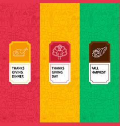Line thanksgiving patterns set vector