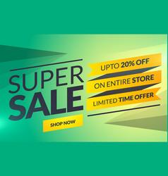 Super sale horizontal banner or voucher card vector