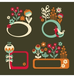 Set of cute banners with birds and flowers vector