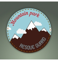 Mountain themed outdoors emblem vector