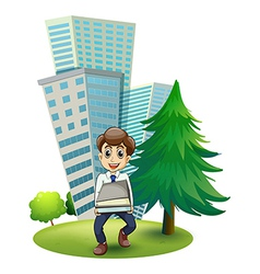 A hardworking man outside the building vector image