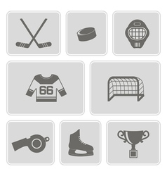Monochrome set with hockey icons vector