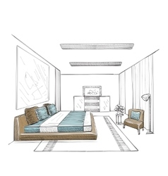 Bedroom modern interior vector image