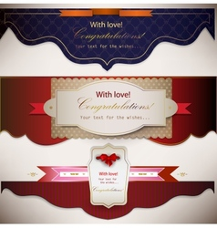 Congratulations banners and ribbons vector