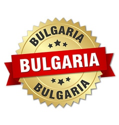 Bulgaria round golden badge with red ribbon vector