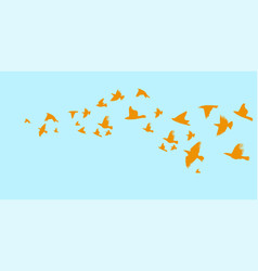 a flock of flying birds starlings vector image