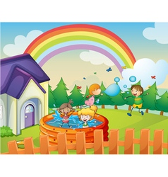 a house and kids vector image vector image