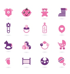 baby girl icons vector image vector image