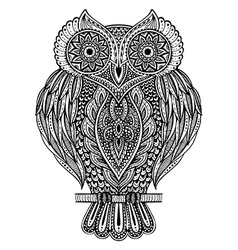 Black and white hand drawn ornate owl vector image
