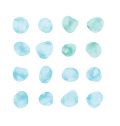 Blue watercolor spots painted stained petals vector