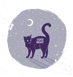 Cat silhouette night vector